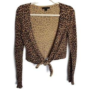 ⭐3/$25 Express Leopard Print Front Tie Shrug sz M